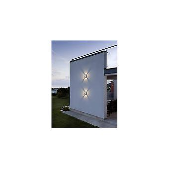Konstsmide Pescara LED weißes Aluminium Quadrat Wandleuchte