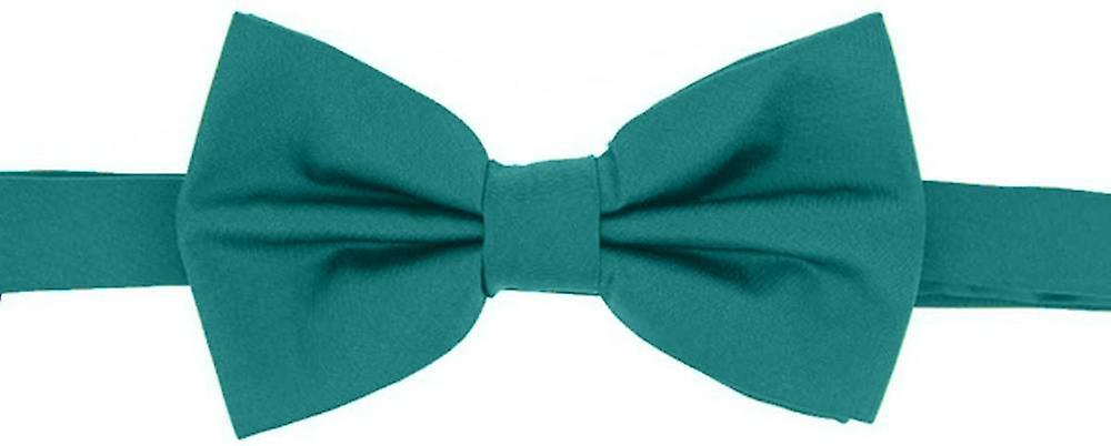 David Van Hagen Plain Satin Silk Bow Tie - Turquoise