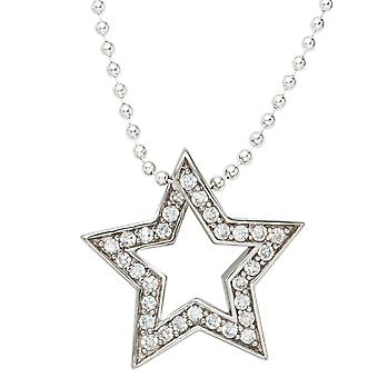 Rhodium-plated pendant star 925 sterling silver with cubic zirconia