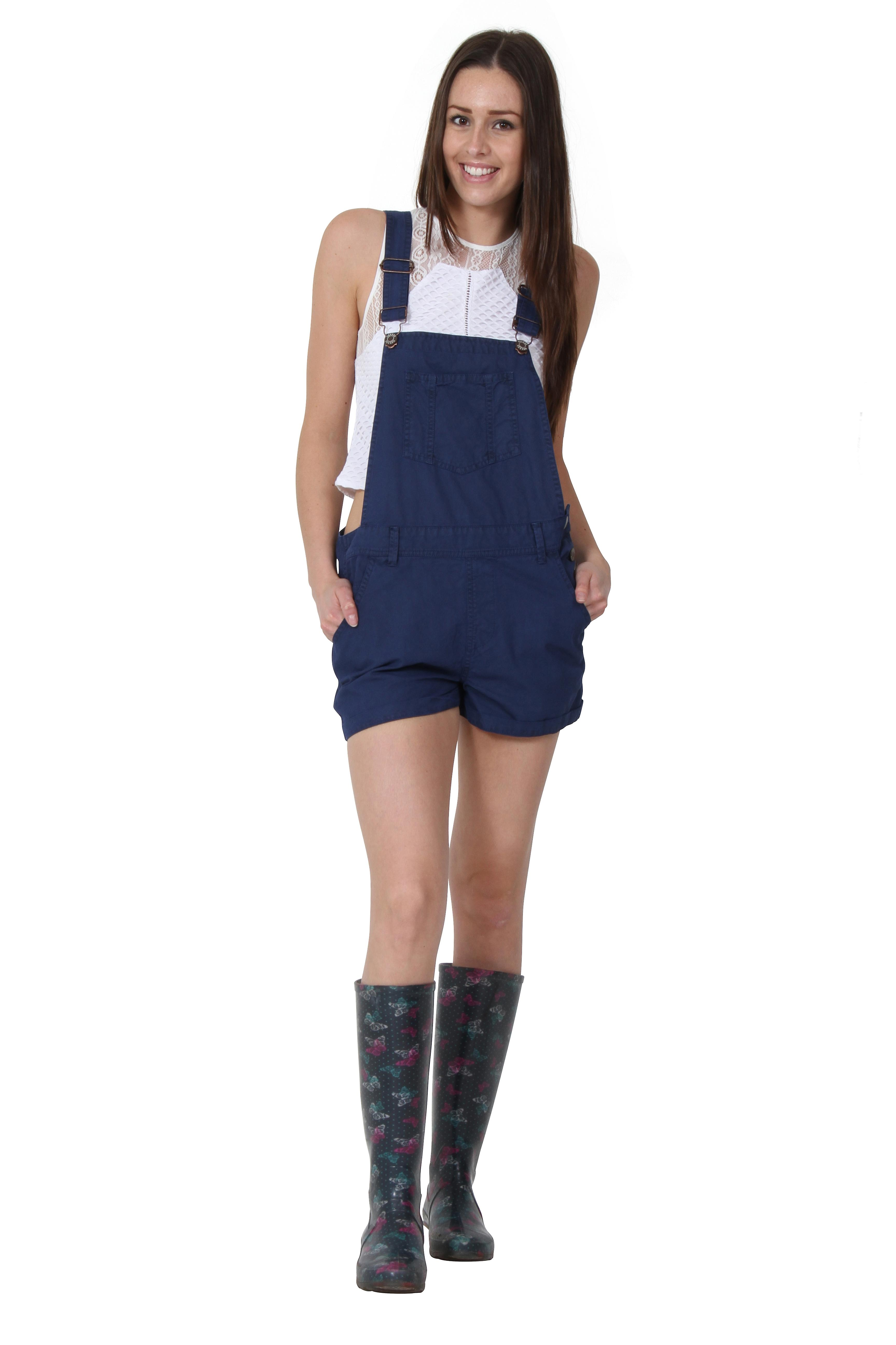USKEES ANNA Oversized Dungaree Shorts Loose fit Cotton bib overall shorts