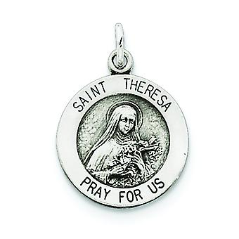 Sterling Silver Solid Satin Engravable Antique finish St. Theresa Medal Charm - 1.2 Grams