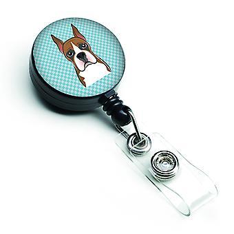Carolines Treasures  BB1161BR Checkerboard Blue Boxer Retractable Badge Reel