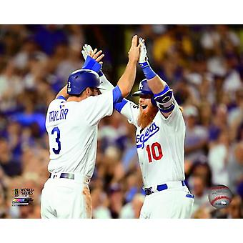 Chris Taylor & Justin Turner celebrate turners 2 run Home Run Game 1 of the 2017 World Series Photo Print