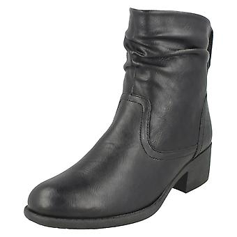 Ladies Spot On Rouched Ankle Boots F50860