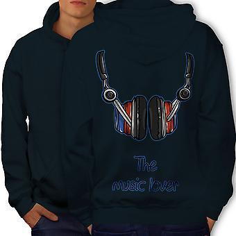 The Music Lover Men NavyHoodie Back | Wellcoda