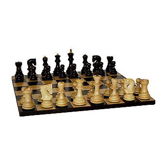 El conjunto del ajedrez ruso negro tablero básico negro arce