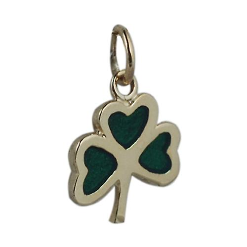 9ct Gold 13x13mm Shamrock with green cold cure enamel Pendant or Charm