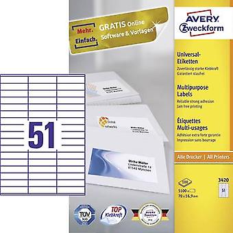 Avery-Zweckform 3420 Labels (A4) 70 x 16.9 mm Paper White 5100 pc(s) Permanent All-purpose labels Inkjet, Laser, Copier