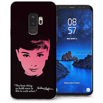 Samsung Galaxy S9 Plus Audrey Hepburn citeer TPU Gel Case-zwart