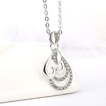 Beautiful Silver Heart Necklace Crystal Stones Pendant BG1590