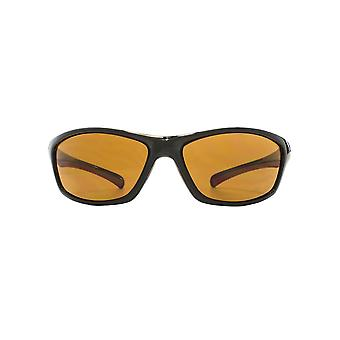 Freedom Polarised Laxey Small Wrap Sunglasses In Shiny Black Polarised