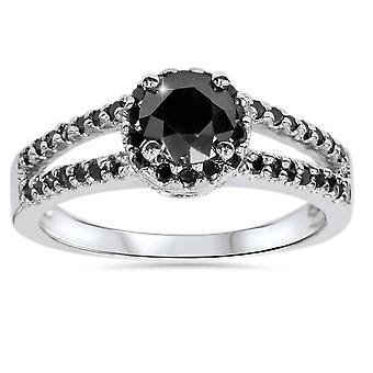 2CT svart diamant Split shanken Halo förlovningsring 14K vitguld