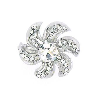 Brooches Store Small Silver & Crystal Spiral Flower Brooch