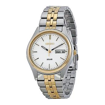 Seiko Solar Stainless Steel Gold White Dial Men's Watch SNE032P1