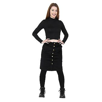 Button Front Corduroy Skirt Black knee-length ladies cord skirt with stretch