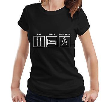 Essen Sie schlafen Star Trek Grafik Damen T-Shirt