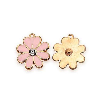 3 x Rose Gold/Pale Pink Enamel & Alloy 14 x 16mm Flower Charm/Pendant Y06295