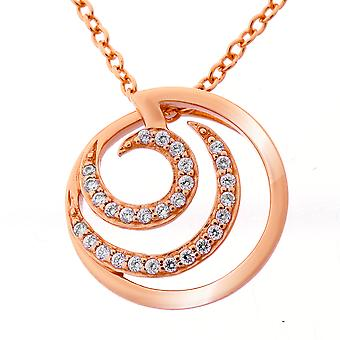 Orphelia Silver 925 Chain With Pendant Round Rosegold Plated Zirconium  ZH-7084/1