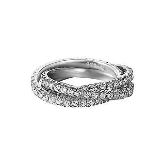 Esprit Damen Ring Silber Zirkonia Brilliance Triple White ESRG91885B1