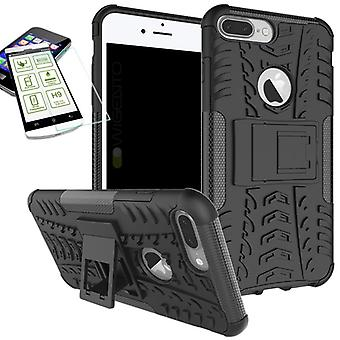 Hybrid case 2 piece black for Apple iPhone 8 and 7 plus 5.5 + tempered glass bag case cover