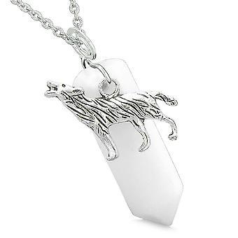 Mod Howling Wolf beskyttelse energi Amulet heldig krystal punkt hvid kvarts vedhæng halskæde
