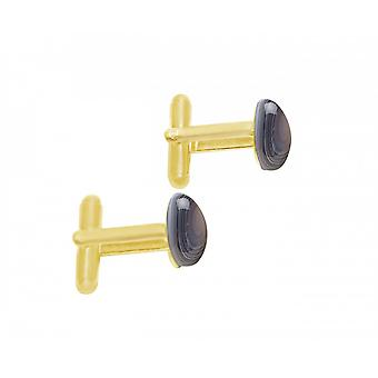 Men - cuff links - gold plated 18 mm - agate - grey-