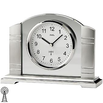 Radio-controlled clock table clock radio metal brushed with polished mineral glass