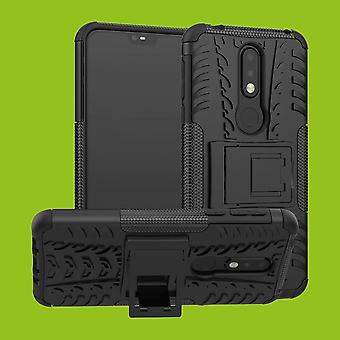 Für Nokia 7.1 5.84 Zoll Hybrid Case 2teilig Outdoor Schwarz Zubehör Tasche Hülle Cover Schutz