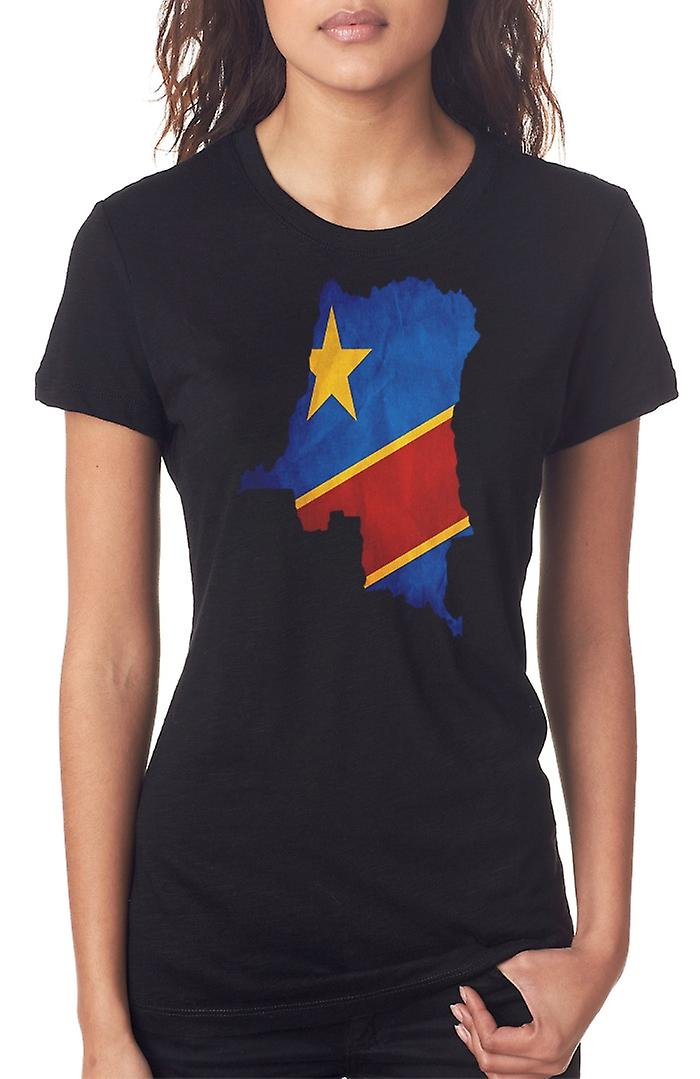 Congo Congolese Flag Map Ladies T Shirt