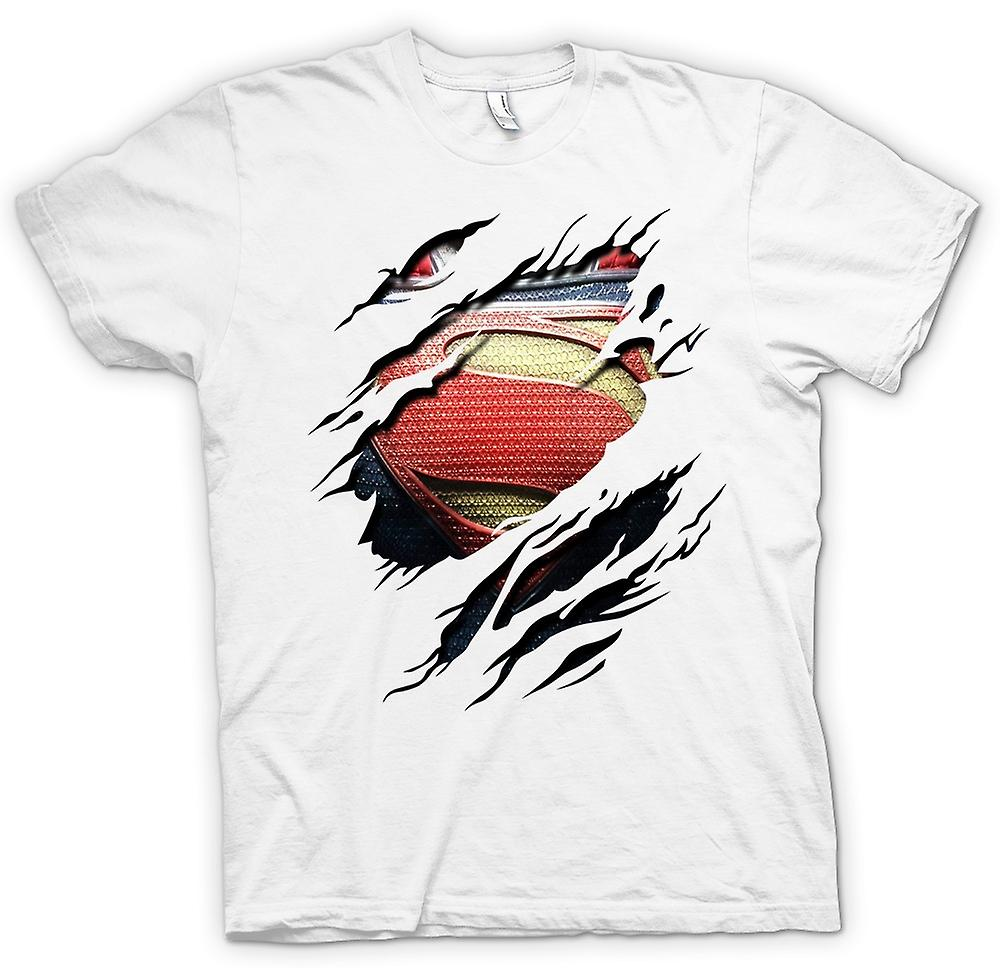 Womens T-shirt - New Super Man Costume - Superhero Ripped Design