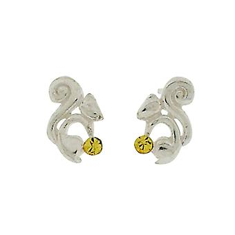 TOC Girls Sterling Silver Yellow Crystal Squirrel Stud Earrings