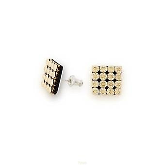 Spark Champagne Crystal Pave Sterling Silver Square Stud Earrings