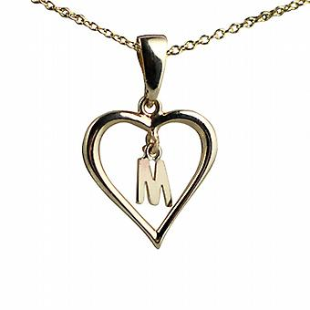 9ct Gold 18x18mm initial M in a heart Pendant with a cable Chain 20 inches