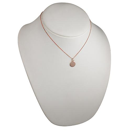 9ct Rose Gold 13mm round plain Disc with a curb Chain 16 inches Only Suitable for Children