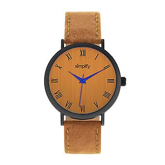 Simplify The 2900 Leather-Band Watch - Black/Orange