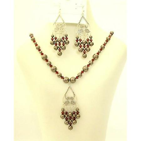 Swarovski Jewelry Dark Brown Pearls Dark Siam Red Crystals Silver Set