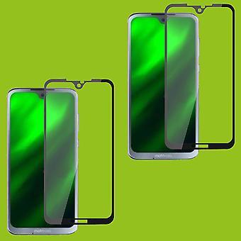 Für Motorola Moto G7 / G7 Plus 2x 3D Premium 0,3 mm H9 Hart Glas Schwarz Folie Schutz Hülle Neu