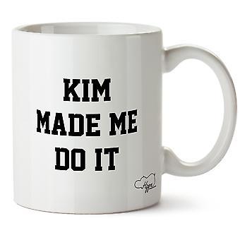 Hippowarehouse Kim gjorde meg gjøre det trykt krus Cup keramiske 10 Unzen