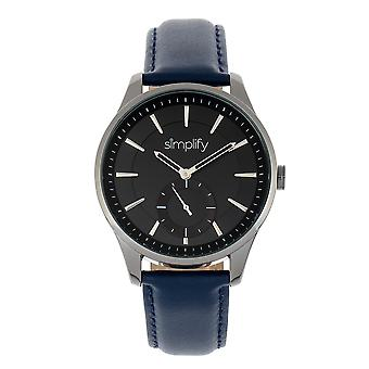 Simplify The 6600 Series Leather-Band Watch - Blue/Black