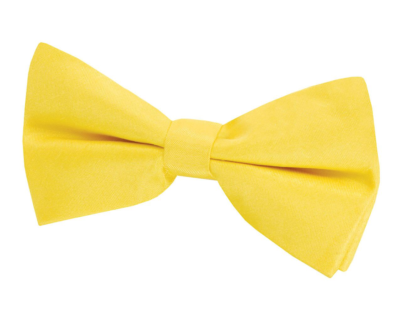 Dobell Mens Yellow Bow Tie Dupion Satin-Feel Pre-Tied