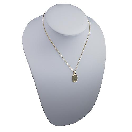 9ct Gold 19x9mm plain oval St Christopher Pendant with a Cable link Chain 16 inches Only Suitable for Children