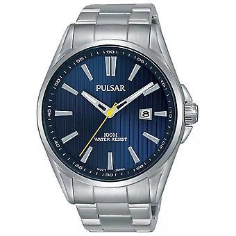 Pulsar | Mens Armband i rostfritt stål | Blå ring | PS9603X1 klocka