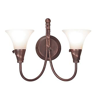 Traditional Double Wall Light with Spiralling Ribbons