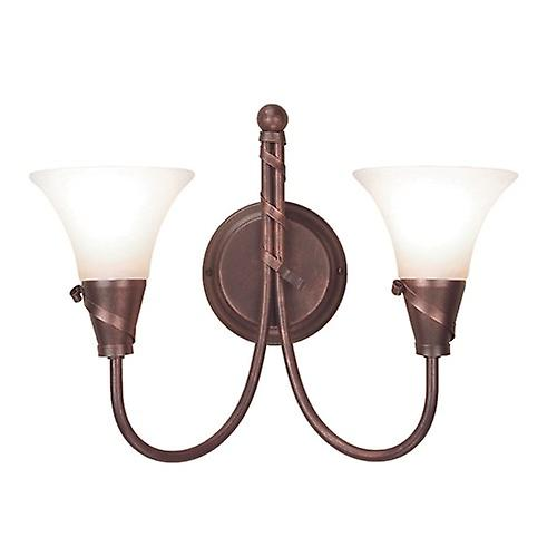 Elstead EM2 COPPER Emily Traditional Double Wall Light with Spiralling Ribbons