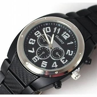 Henley Gents Analogue Chrono Effect Black Plastic Sports Strap Watch H03009.3