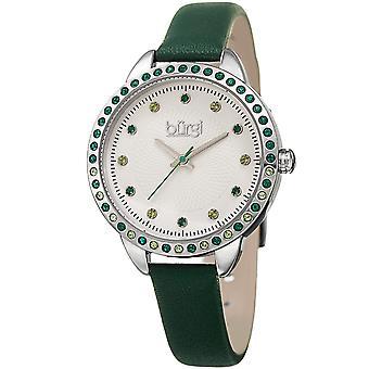 Burgi Women's Quartz Swarovski Crystal Green Leather Strap Watch BUR161GN
