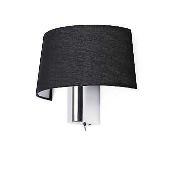 Faro - Hotel Chrome Wall Light With Black Shade FARO29945