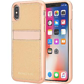 Original Michael Kors Saffiano Leather Pocket Case for iPhone X/XS - Rose Gold/B