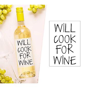 Will Cook For Wine Wine Bottle Label