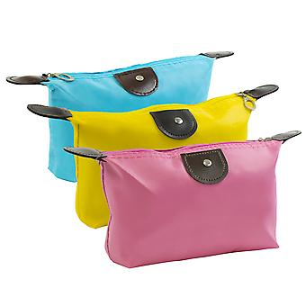 TRIXES 3PC Foldable Travel Toiletry Bags Make Up Organisers Portable Cosmetic Case
